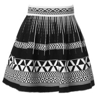 Black Geometry Pattern Skirt