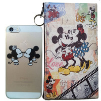 Disney's Mickey & Minnie Logo Clear Case For Apple Iphone 5/ 5s /SE + Pouch