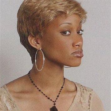 Short Straight Red/Brown/Black Wig Soft Layers Tapered Back - Tobi Hairdo #3301