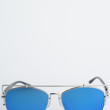 Metal Retro Sunglasses - Cool Blue