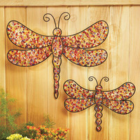 Set Of 2 Dragonflies Beaded Garden Wall Hangers 1 Large & 1 Small Outdoor Decor