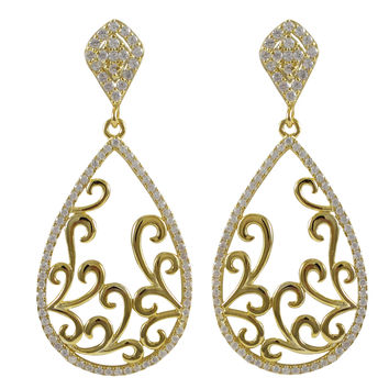 Gold Plated Sterling Silver Filigree Earrings With CZ Border