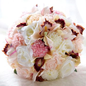Pink Blush Ivory Real Touch Wedding Bouquets For Brides Outside Beach Wedding Artificial Wedding Flowers