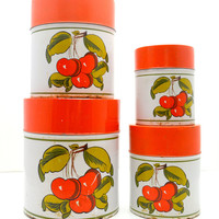 Vintage Holt Howard Canister Set, Cherry Red and White Tin Canisters, Kitschy Kitchen, HH Japan, 1950s - 1960s