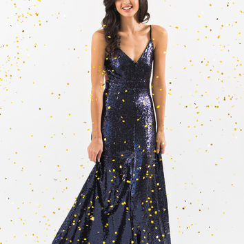 Selena Navy Sequin Backless Gown