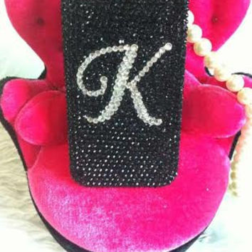 personalized customized letter name Handmade Bling diamond crystal Rhinestone iPhone 6 6 plus case iPhone 5 5s 5c case samsung black 2a