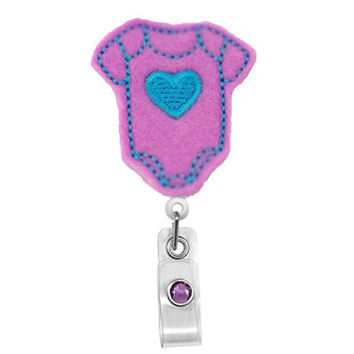 Baby Onesuit (Purple) -Nicu / Labor Delivery Nurses Badge Holder - Cute Badge Reels - Unique  ID Badge Holder - Felt Badge - RN Badge Reel
