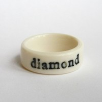 Diamond Porcelain ring with imprinted text Size 7 by BeaHustoft