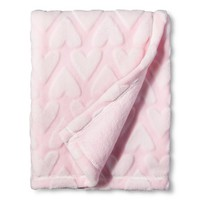 Circo™ Soft Fleece Embossed Baby Blanket - Pink Hearts