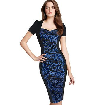 Vfemage Womens Elegant Floral Flower Print Optical Illusion Square Neck Slim Work Party Casual Sheath Bodycon Pencil Dress 2137