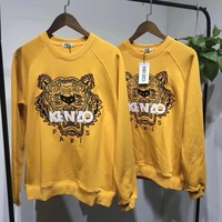 Kenzo Fashion Long Sleeves Embroidery Round Neck Top Sweater