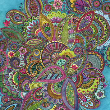 Vibrant, Intricate, Psychedelic Paisley Print - reduced - was 12.00 - slight colour difference.