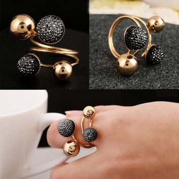 Ball Resin Little Golden Beans Ring Simple