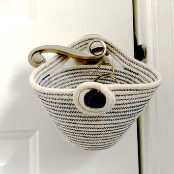Coiled Rope Clothesline Basket  Back Door To Go Bowl  Door Knob Organizer  Hanging Door Organizer  Blue Quilting on Natural  Key Holder