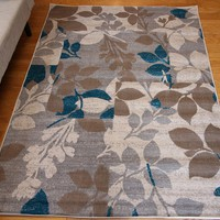 5037 Coral Blue Contemporary Area Rugs