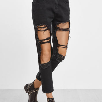 Black Distressed Ankle Jeans | MakeMeChic.COM