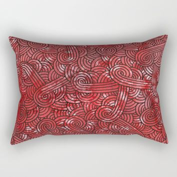 Red and black doodles Rectangular Pillow by Savousepate