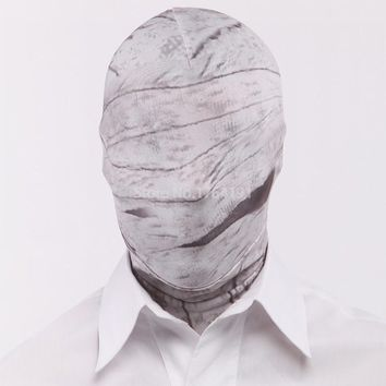 Gray Fetish Fantasy Hood Mask Full cover Lycra Not with Mouth and Eye Opening Halloween Costumes