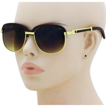 CLASSY VINTAGE RETRO Style SUN GLASSES Round Gold & Brown Wooden Fashion Frame