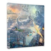 "Thomas Kinkade Tinker Bell & Peter Pan 14""x14""x1.5"" canvas wrap"