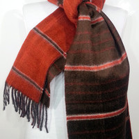 Double faced Scarf, Brown and Orange Wool Men's Scarf, Brown and Orange Scarf, Chashmere Men's Scarf - EV514069