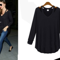 Sexy Womens V-Neck Cut-Out Long Sleeve T-shirt