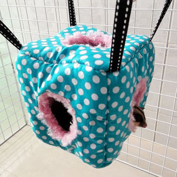 """CUTE 5"""" Sugar Glider-Rat Hanging  FLUFFY CUBE Tent  with 3 hole and Metal hooks washable"""
