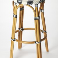 Tobias Blue & White Rattan Bar Stool