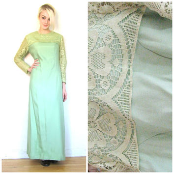 60s vintage maxi dress / Maxi shift dress / Hippie boho bohemian / Green lace / Floor length size M medium