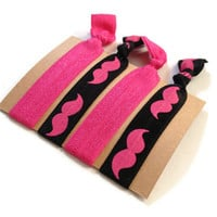Elastic Hair Ties Hot Pink and Black Mustache Yoga Hair Bands