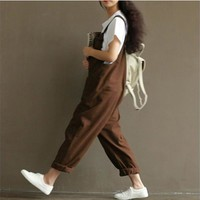 Vintage Women Casual Loose Cotton Jumpsuit Strap Dungaree Trousers Overalls Fashion Loose Overalls Strapless Plysuits JH19267