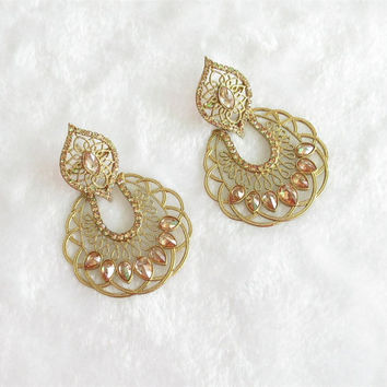 Bollywood Antique Crystal And Rhinestones Studded Earrings For Bridal Wedding/Indian Wedding Earrings Jewelry/Bollywood Earring
