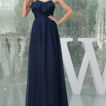 2016 Real Image Sexy Halter Bridesmaid Dresses for Wedding Anxia Long Dark Navy Formal Gown Floor Length Junior Party Dress