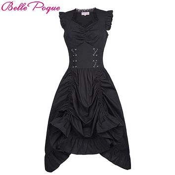 Sleeveless V-Neck Corset Ruffle Dress