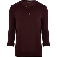 River Island MensDark red textured grandad t-shirt