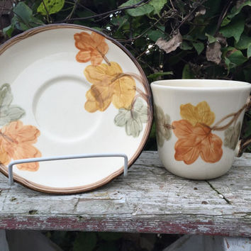 Vintage Franciscan ware dishes October pattern, Franciscan cup / saucer set, Thanksgiving serving vintage fall leaf dishes, Gladding Mc Bean