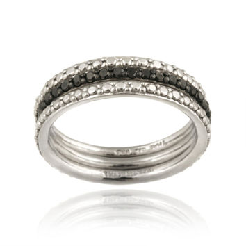 Sterling Silver 2/5ct Black Diamond Stackable Eternity Band Rings Set Size 10