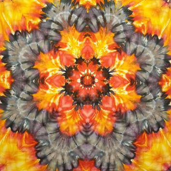 mandala tie dye tapestry psychedlic red orange yellow black grey