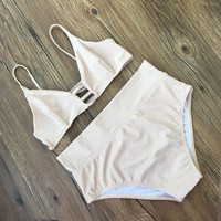 Fashion Simple Solid Color Hollow High Waist Bikini Set Swimsuit Swimwear
