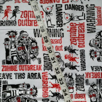 Kids flannel fabric with zombies walkers cotton print quilt sewing material to sew by the yard crafts crafting project quilters sewers BTY