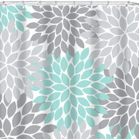 Coral Aqua Gray SHOWER CURTAIN Flowers Custom MONOGRAM Personalized Floral Burst Bathroom Decor Bath Beach Towel Plush Bath Mat Baby Blanket