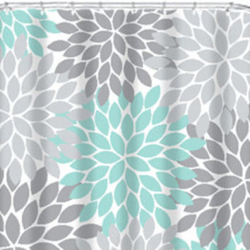 Coral Aqua Gray SHOWER CURTAIN Flowers Custom MONOGRAM Personalized Floral Burst Bathr
