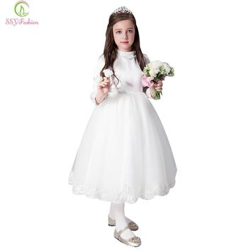 Fashion Children Dress Flower Girls Dresses for Wedding Long Sleeved Embroidery Long Party Gown First Communion Dress