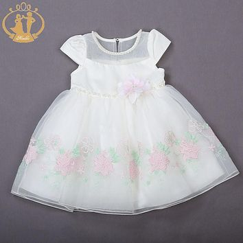 Nimble Baby Girls Dress Cotton Satin Mid-Calf Sleeveless Girls Wear Pink Ivory Flower Beading O-neck Princess Party Dress