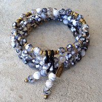 "Black strip agate ""grounding"" 108 bead wrap mala bracelet"