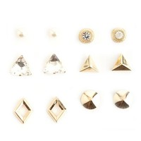 RHINESTONE & PEARL STUD EARRINGS - 6 PACK