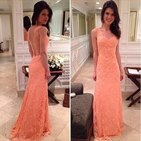 Sexy Lace Coral Colored Prom Dresses 2014 New Arrival Backless V Neck Long Evening Party Gowns-in Prom Dresses from Apparel & Accessories on Aliexpress.com | Alibaba Group