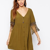 Kiss The Sky Button Down Dress With Tassel Sleeves