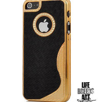 Glam Leather Hard Case For iPhone 5- Black/Gold | LIFE BREEDS ART