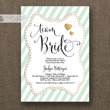 Team Bride Mint & Gold Bachelorette Party Invitation Glitter Heart Modern Script Bridal Hens Lingerie DIY Printable or Printed - Jaclyn